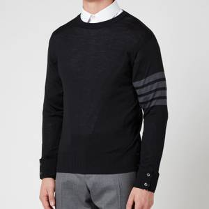 Thom Browne Men's Four-Bar Stripe Classic Crewneck Jumper - Black