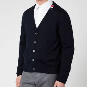 Thom Browne Men's Tricolour Tab Relaxed Fit V-Neck Cardigan - Navy