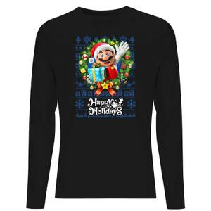 Nintendo Super Mario Happy Holidays Mario Unisex Long Sleeve T-Shirt - Black