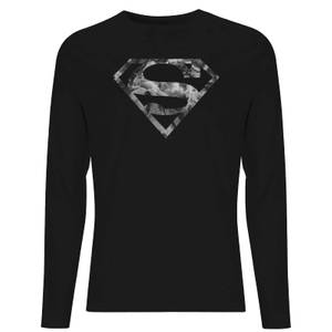DC Marble Superman Logo Unisex Long Sleeve T-Shirt - Black