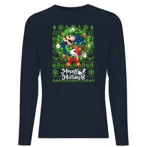 Nintendo Super Mario Happy Holidays Luigi Unisex Long Sleeve T-Shirt - Navy