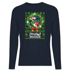 Nintendo Super Mario Happy Holidays Luigi Unisex Long Sleeve T-Shirt - Navy
