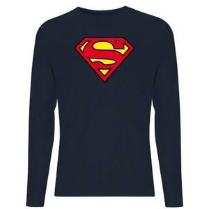 DC Official Superman Shield Unisex Long Sleeve T-Shirt - Navy