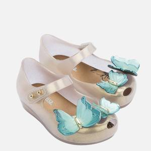 Mini Melissa Toddlers' Mini Ultragirl Butterfly Ballet Flats - Pearl Contrast