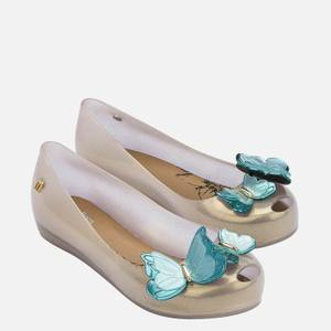 Mini Melissa Kids' Ultragirl Butterfly Ballet Flats - Pearl Contrast