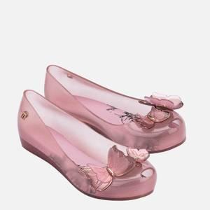 Mini Melissa Kids' Ultragirl Butterfly Ballet Flats - Pink Glitter