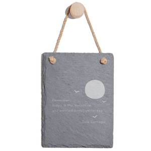 Remember Today Is The Tomorrow You Worried About Yesterday Engraved Slate Memo Board - Portrait