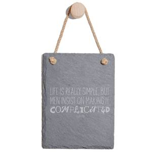 Life Is Really Simple Engraved Slate Memo Board - Portrait