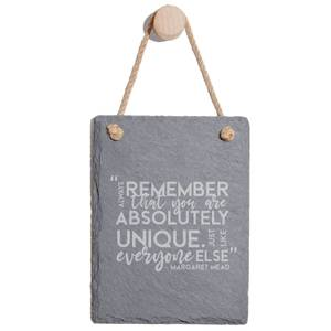 Always Remember That You Are Absolutely Unique Engraved Slate Memo Board - Portrait