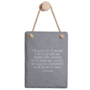 The Simple Act Of Opening A Bottle Of Wine Has Bought More Happiness Engraved Slate Memo Board - Portrait