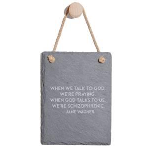 When We Talk To God Engraved Slate Memo Board - Portrait