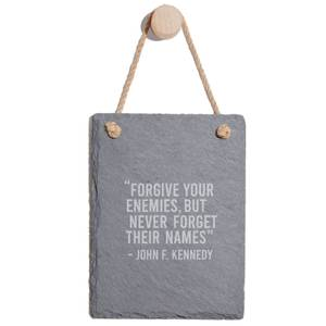 Forgive Your Enemies Engraved Slate Memo Board - Portrait