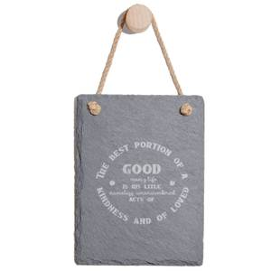 The Best Portion Of A Good Man's Life Engraved Slate Memo Board - Portrait