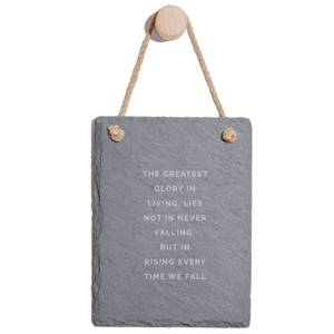 The Greatest Glory In Living, Lies Not In Never Falling, But In Rising Every Time We Fall Engraved Slate Memo Board - Portrait
