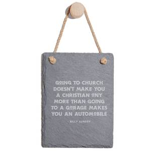 Going To Church Engraved Slate Memo Board - Portrait