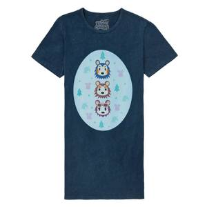 Nintendo Animal Crossing Able Sisters Women's T-Shirt Dress - Navy Acid Wash