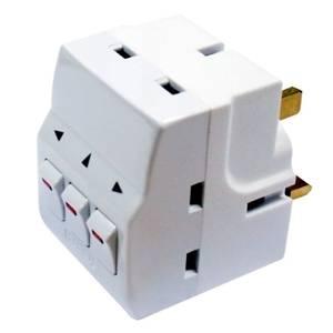 Masterplug 3 Socket Switched Adaptor White