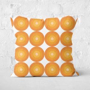 60s Orange Pattern Square Cushion