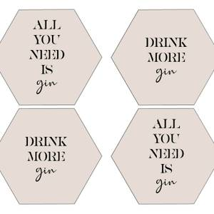 All You Need Is Gin Hexagonal Coaster Set