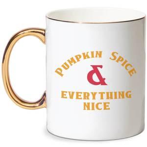 Pumpkin Spice & Everything Nice Bone China Gold Handle Mug