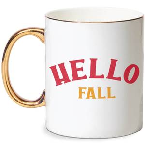 Hello Fall Bone China Gold Handle Mug