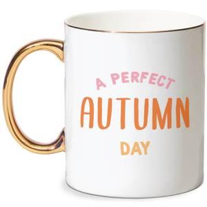 A Perfect Autumn Day Bone China Gold Handle Mug