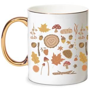 Autumn Forest Bone China Gold Handle Mug