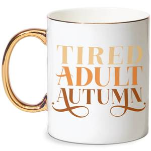 Tired Adult Autumn Bone China Gold Handle Mug