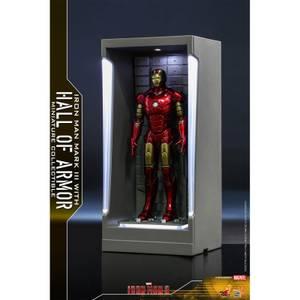 Hot Toys Movie Masterpiece Compact - Miniature Figure: Iron Man 3 - Iron Man Mark 3 (with Hall of Armor)