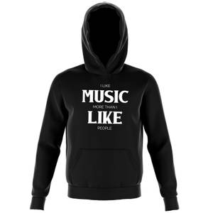 I Like Music More Than I Like People Kids' Hoodie - Black