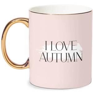 I Love Autumn Mug - White/Gold