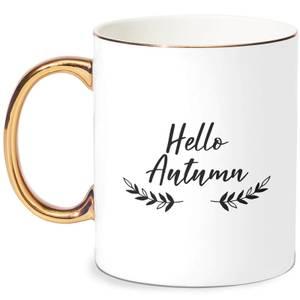 Hello Autumn Wreath Bone China Gold Handle Mug