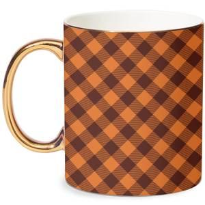 Orange Tartan Mug - White/Gold