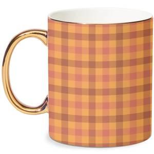 Autumn Tartan Mug - White/Gold