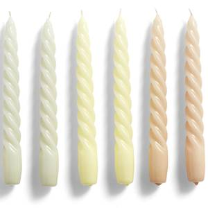 HAY Candle Twist Set of 6 - Beige/Citrus/Peach