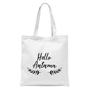 Hello Autumn Wreath Tote Bag - White