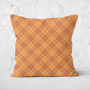 Orange Check Square Cushion