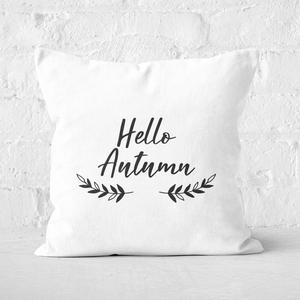 Hello Autumn Wreath Square Cushion