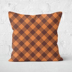 Orange Tartan Square Cushion