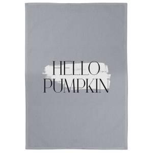 Hello Pumpkin Cotton Tea Towel - Grey