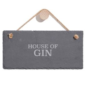 House Of Gin Engraved Slate Hanging Sign