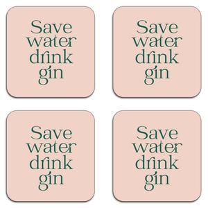 Save Water Drink Gin Coaster Set