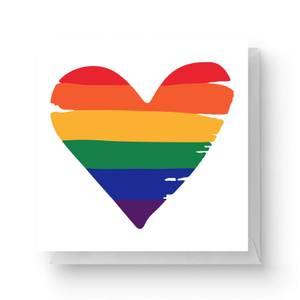 Rainbow Heart Square Greetings Card (14.8cm x 14.8cm)