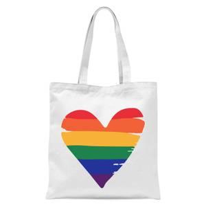 Rainbow Heart Tote Bag - White