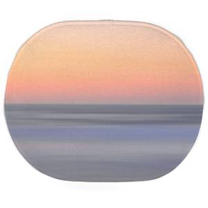 Earth Friendly Sunset Orange Blue Oval Bath Mat