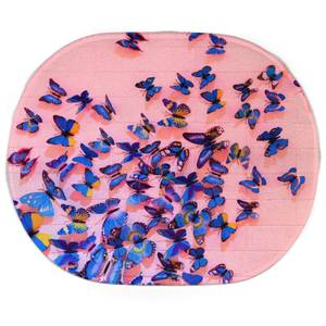 Earth Friendly Girly Butterfly Crowd Oval Bath Mat