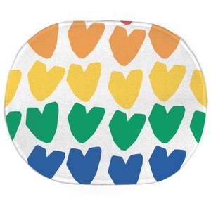 Earth Friendly Rainbow Hearts Oval Bath Mat