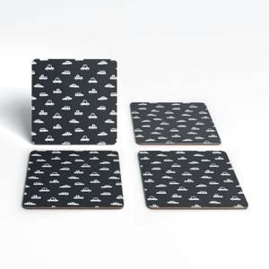 Black And White Cartoon Car Pattern Coaster Set