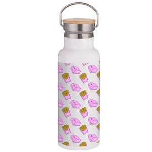 Fries Love Portable Insulated Water Bottle - White