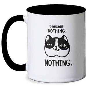 I Regret Nothing Cat Meme Mug - White/Black
